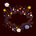 Star bursts cartoon cloud shape banner frame background Royalty Free Stock Photo