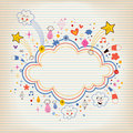 Star bursts cartoon cloud shape banner frame lined note paper background Royalty Free Stock Photo