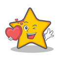 Star character cartoon style with heart