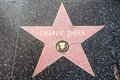 The star of charlie sheen on walk fame on hollywood blvd los angeles california Stock Photos