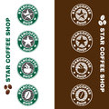 Star coffee shop logo circle style vector set design Royalty Free Stock Photo