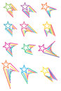 Star colorful line up set Royalty Free Stock Photo