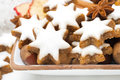 Star cookies nuts and spices for christmas close up horizontal Stock Photo