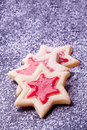 Star cookies with red jelly and powder sugar christmas Royalty Free Stock Images