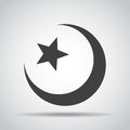 Star and crescent icon with shadow on a gray background. Vector illustration