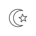 Star and crescent of Islam line icon, outline vector sign, linear style pictogram isolated on white.