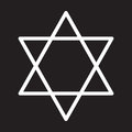 Star of David line icon, white outline sign, vector illustration.
