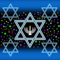 Star of david and menorah colorful illustration with five stars Stock Image
