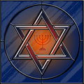 Star of David and menorah stained glass Royalty Free Stock Photography
