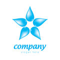 Star of drops blue logo in the shape a from the Stock Photo