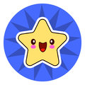 Star face emoticon cute kawaii character. On blue circle.