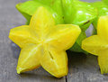 Star fruit the is cut off Stock Photography