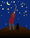 The star gazer man on a hill looking at night sky through his telescope accompanied by his dog Royalty Free Stock Photo
