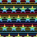 Star glitter rainbow symmetry stripe seamless pattern Royalty Free Stock Photo