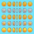 Star gold silver coins rotation set sprite game graphics Royalty Free Stock Image