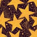 Star golden glitter big seamless pattern