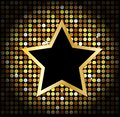 Star on the golden glittering disco background this is file of eps format Royalty Free Stock Photo