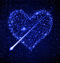 Star heart in night sky Royalty Free Stock Image