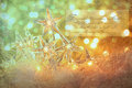 Star holiday lights with sparkle background gold Royalty Free Stock Photo