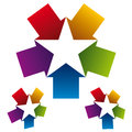 Star icon created with five arrows. Royalty Free Stock Photo