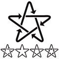Star icons with arrows. Royalty Free Stock Photo