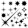 Star icons. Twinkling stars. Sparkles, shining burst. Christmas vector symbols isolated Royalty Free Stock Photo