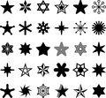 Star icons a variety of stars and shaped icon illustrations Royalty Free Stock Photos