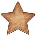 Star label shape leather isolated Stock Photo