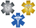 Star of life caduceus medical symbol illustration for health care organizations ambulance isolated on white background Stock Photography