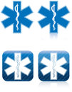 Star of life rod of asclepius emergency medical and rescue symbol Royalty Free Stock Photos