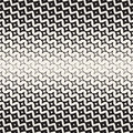 Star Line Shape Halftone Transition. Vector Seamless Black and White Pattern.