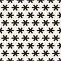 Star Line Shapes Grid. Vector Seamless Black and White Pattern
