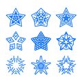 Star logo template set. Vector blue geometric ornamental symbols isolated. Blue decorative and creative business signs Royalty Free Stock Photo
