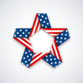 Star made of double ribbon with american flag Stars and stripes. Vector illustration Royalty Free Stock Photo