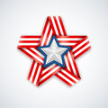 Star made of interlaced ribbon with american flag stripes and white star within. Vector illustration Royalty Free Stock Photo
