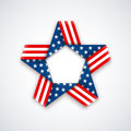 Star made of ribbon with american flag colors and symbols. Vecto