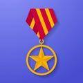 Star medal congratulation icon. Military badge. Golden award
