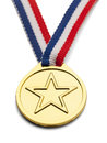 Star medal gold with and ribbon isolated on white background Royalty Free Stock Photography
