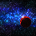 Star, planets in distant galaxies. Royalty Free Stock Photo