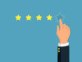 Star rating. Person`s hand give a five star. Positive review. Concept feedback and evaluation system.