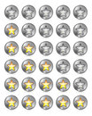 Star rating set metallic buttons on white with reflection Stock Image