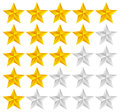 Star Rating Template Vector with 3d stars Royalty Free Stock Photo