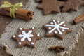 Star shape Christmas chocolate gingerbread Cookies Royalty Free Stock Photo