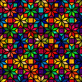 Star shape colorful geometric stained glass seamless pattern, vector