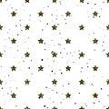 Star shape glitter gold, black and white seamless pattern.