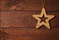 Star shape on wooden background with copy space Royalty Free Stock Image
