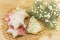 Star shaped Christmas cookies Royalty Free Stock Photo