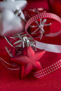 Star-shaped Christmas decorations, closeup Royalty Free Stock Photo