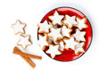 Star shaped cinnamon biscuit Royalty Free Stock Images