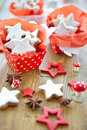 Star-shaped cinnamon cookies for christmas Stock Photos